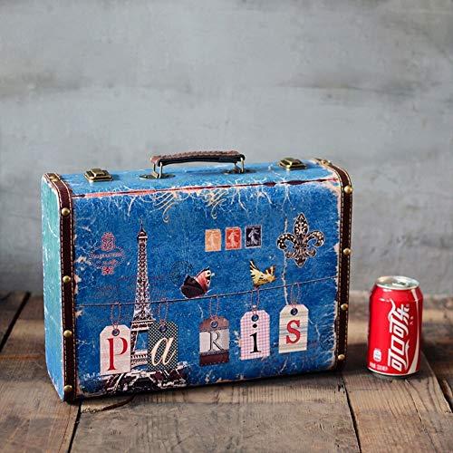Dfghbn - Maleta vintage retro vintage de viaje, maleta grande de piel, maleta, viaje, decoración, cartel artesanal, almacenamiento de maleta (color azul claro, tamaño: 34 x 25 x 12 cm)