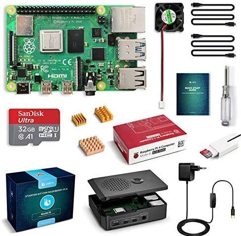 LABISTS Raspberry Pi 4 Model B 4GB RAM Kit con Barebone, MicroSD 32GB, Tipo C Alimentatore 5.1V 3A, Ventola, 2 Micro HDMI, Lettore di Scheda e Case