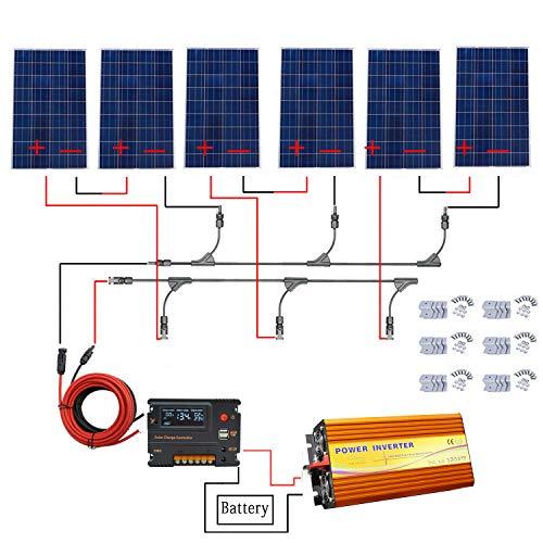 ECO-WORTHY Kit de panel solar de 720 W para panel de desagüe de 3000 W puro inversor de sino + 6 piezas 120 W panel solar de policristalino + 20 A controlador de cargador de batería para el hogar