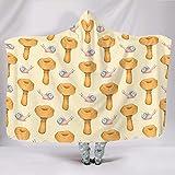 Wandlovers Manta con capucha suave vintage, diseño de caracoles de setas, para invierno, felpa, color blanco, 130 x 150 cm