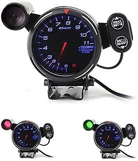 80mm Car Digital Tachometer Defi Rpm Gauge Universal Car Stepper Motor BF Tacometro Meter Blue White LED Shift Light Auto Gauge (Blue Light)
