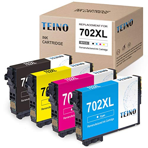 TEINO Remanufactured Ink Cartridge Replacement for Epson 702 702XL T702XL use with Epson Workforce Pro WF-3720 WF-3730 WF-3733 (Black, Cyan, Magenta, Yellow, 4-Pack)