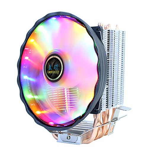 SOBW Ventilador de CPU de 120 mm, silencioso, RGB 2/4/6, tubo de cobre, para Intel y AMD