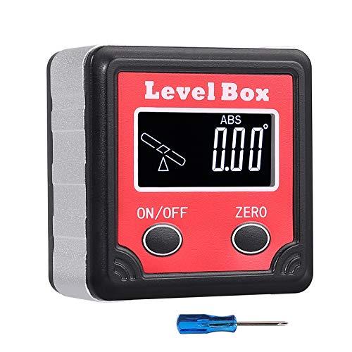 Neoteck Buscador de Ángulos Digital LCD Medidor de Ángulo Digital con Mini Destornillador y Muñequera Manual Correa de Cordón para Sierra de Inglete Prueba y Reparación de Automóviles