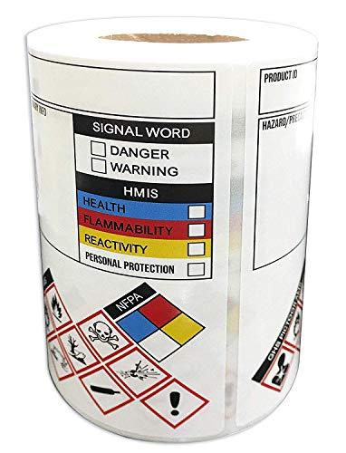 SDS/OSHA Stickers for Chemical Safty Data 3 X 4 Inches - MSDS/HMIG Labels Write-in - Hazard Secondary Container Labels Chemical Identifying and Marking Sticker Decals 250/Roll