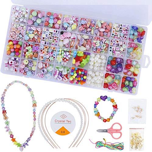 TOOLBOX 32 Farben Perlen zum Auffädeln Kinder Schmuck Schnurset DIY Perlenset für Armbänder Freundschaftsarmbänder Halsketten Schnurset für Mädchen