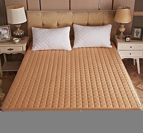 XLMHZP Protector de colchón Impermeable Acolchado en Relieve de Color sólido Funda de Estilo de sábana Ajustable para colchón Almohadilla Suave y Gruesa para Cama-Yellow_150cmx200cm+30cm