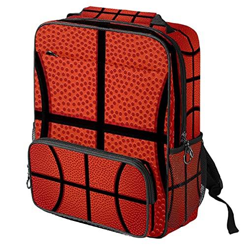 Mochila casual para computadora portátil, bolsa de trabajo de moda con textura de cesta impresión naranja para mujeres/niñas/hombres