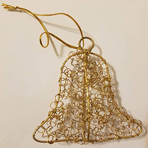 Gold Wire Bell Christmas Ornaments, Pack of 12