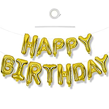 Gold Happy Birthday Balloons Banner 16 Inch Mylar Foil Letters Birthday Sign Banner Balloon Bunting Reusable Ecofriendly Material for Girls Boys Kids & Adults Birthday Decorations and Party Supplies