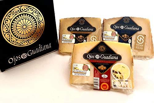 Pack de cuñas Queso D.O. Manchego Ojos del Guadiana - SEMICURADO, CURADO Y ETIQUETA NEGRA - Trío de cuñas 1200 gr aprox.