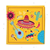 Fiesta Napkins For Cinco De Mayo, Mexican Cocktail, Birthday Party, Fiesta Dinner, BBQ, Taco Tuesday (5'' x 5'' 50 Pack)