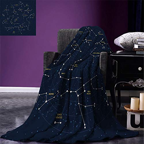 Fleecedecke Constellation Throw Blanket Sky Map Andromeda Lacerta Cygnus Lyra Herkules Draco Stiefel Lynx Dunkelblau Gelb Weiß Bett Warm Fleece Decke Büro Wohnzimmer Ganzjährig Th