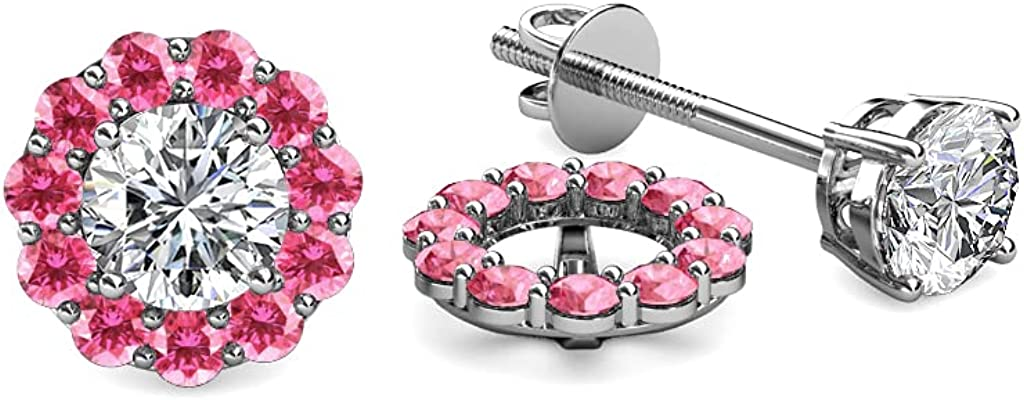 TriJewels Pink Tourmaline Halo Jacket for Stud Earrings 0.60 ct tw in 14K White Gold