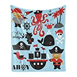 Ambesonne Pirate Soft Flannel Fleece Throw Blanket, Design Skull Octopus and Boy in Conceptual Dress, Cozy Plush for Indoor and Outdoor Use, 50' x 70', Blue Pink