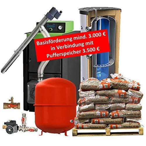 Pelletkessel Pelletkesselpaket 16/20 / 24/28 oder 32 kW Bafa Förderfähig Festbrennstoffkessel Holz mit 800/200 Liter Kombipufferspeicher und Zubehör