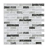 STICKGOO Azulejos de pared 3D de 30,48 x 30,48 cm, autoadhesivos, para cocina y baño (10 hojas, color gris Carrara)