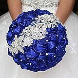 Bride Holding Flowers, Romantic Wedding Colorful Rose Bride 's Bouquet,Purple Pink Bridal Bouquets (Royal Blue)