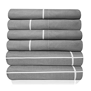 Sweet Home Collection 6 Piece 1500 Thread Count  Deep Pocket Bed Sheet Set - 1 Extra Pillow Case, Great Value, Window Pane Gray, King