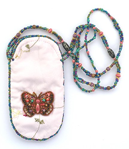 Les bijoux de porcelaine Tasche aus Seide für Handy oder Brille Motiv Schmetterling–Kugeln von Glas und Porzellan