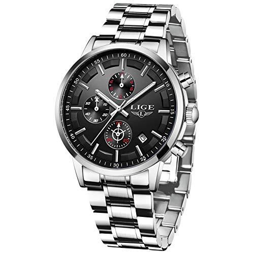 LIGE Herren Uhren Männer Mode Militär Edelstahl Luxus Silber Schwarz Wasserdicht Chronograph Armbanduhr Mann Elegant Datum Kalender Freizeit Sport Dress Quarz Uhr