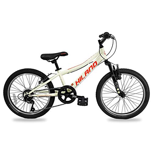 Hiland Cuddy 20 Inch Kids Bike Mountain Bicycle for Ages 5 6 7 8 9 Years Old Boys Girls Beige Orange