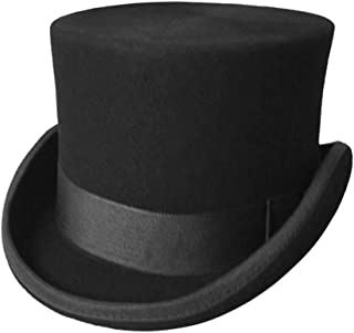 Men's 100% Wool Top Hat Satin Lined Party Dress Hats Derby Black Hat