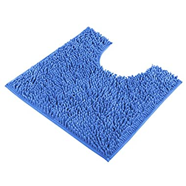 VDOMUS Contour Bath Rug, Soft Shaggy U-Shaped Toilet Floor Mat Bathroom Carpet, 19.5 X 19.5 inch (Light Blue)