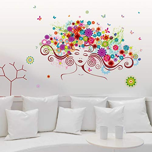 Boomli Woman Flower DIY Vinyl Wall Sticker Butterfly Bedroom Room Home Decoration Art Decal 3D Wallpaper Decoration