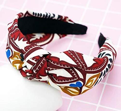 FISISZ Croisé Noué Femmes Cheveux Accessoires Couleur Unie Large Noué Bandeau Rétro Simple Tissu Tête Boucle Presse Chapeaux, comme Image 26