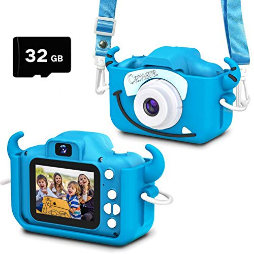 Goopow Kids Camera Toys for 3-8 Years Old Boys and Girl, Kids Digital Video Camera for Children with Shockproof Soft Cover, Best Christmas Birthday Gifts for Boys Girls - 32GB SD Card Included (Blue)