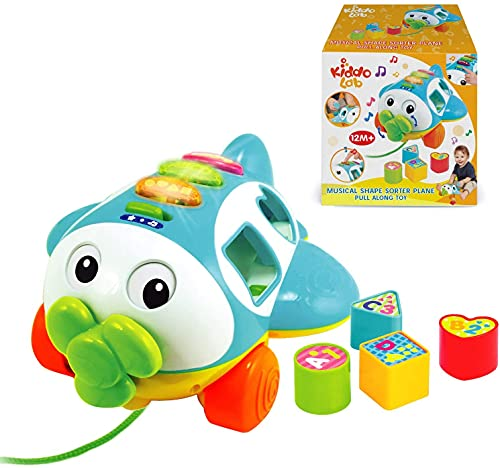 Musical Shape Sorter Plane, Pull-Along Toy - Talking and Singing Airplane Toy with...