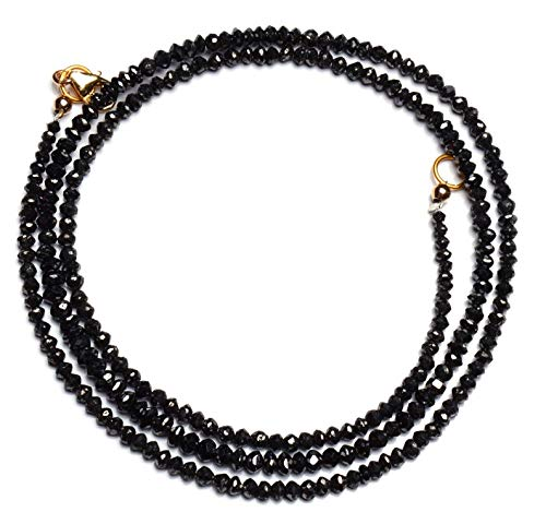 21 inch streng natuurlijke zwarte diamant 2.5-3.5 mm rondel facet kralen - verkoop - natuurlijke super kwaliteit zwarte diamant kralen ketting 21