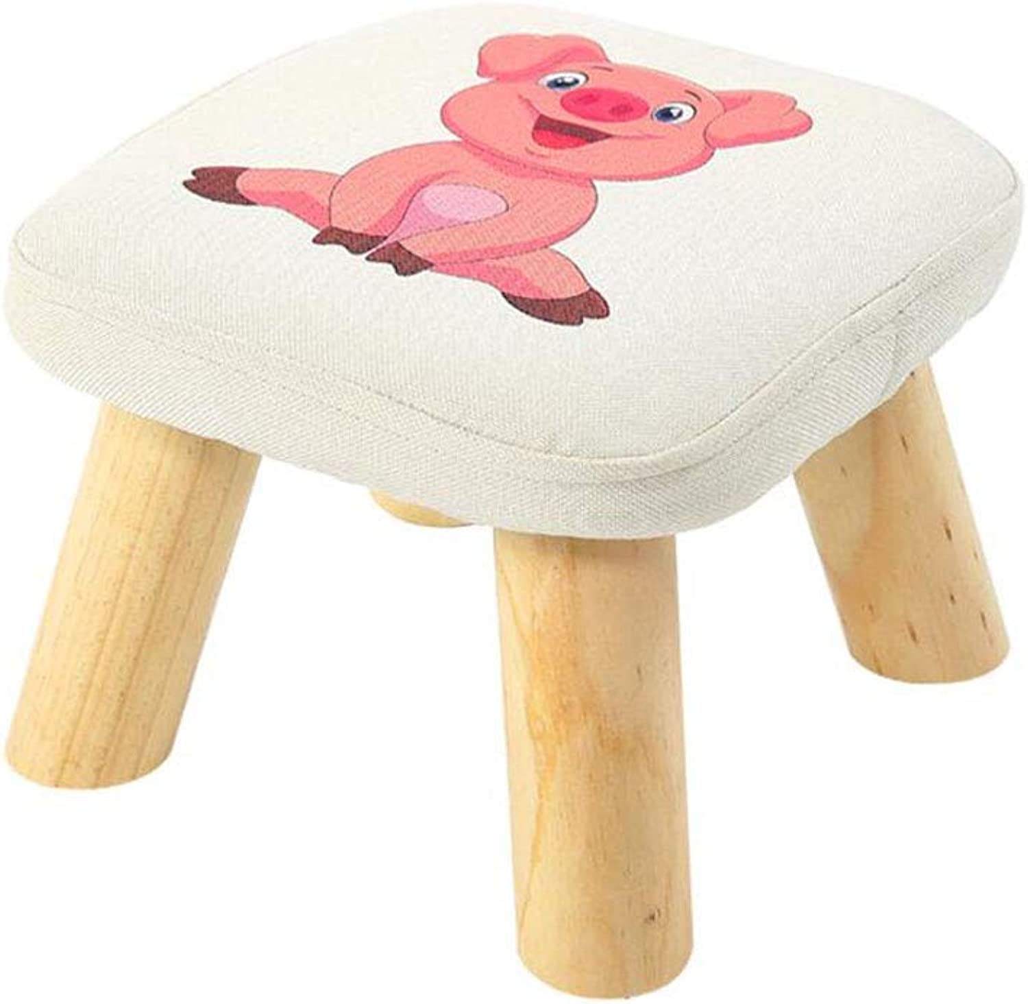 CJC Stool Wood Support Upholstered Footstool Chair Removable Linen Cove Home Office Furniture Kitchen (color   T11)