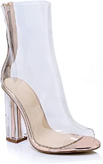 db0677fb4fa7 Women Ankle Boots High Heel Dress Clear Boots Sexy Peep Toe Spring  Transparent Shoes Block Heel