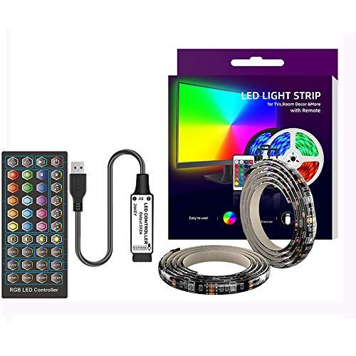 WRQING USB Tira Led para TV con una longitud de 5 Metros, 40 Llaves Control Remoto por Infrarrojos para Controlar la Tira LED, Tira Led RGB 5050 con 20 Colores y 6 Modos Estáticos