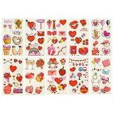Amosfun 20Pcs Valentines Day Temporary Tattoos Heart Tattoo Stickers Kids Body Sticker Clown Fake Tattoos for Boys Girls Children Tattoos Christmas Party Bag Filler