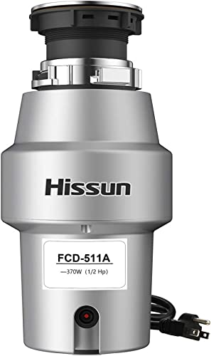 HISSUN Garbage Disposal,1/2 hp Food Waste Disposer with Power Cord 370W Garbage Disposals 1.05L Continues Feed Easy I...
