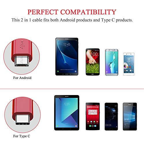 Quntis 3Pack 1,5m 2 in 1 Typ C & Micro USB Kabel, Multi USB Ladekabel Nylon für Galaxy S10 S9 S8+ S8, MacBook Huawei P20 Mate 10 Sony XZ LG V20 G5, HTC 10, Xiaomi 5 und andere USB C und Android Geräte