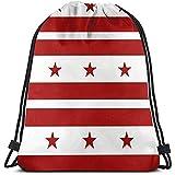 wallxxj Drawstring Bags Flagge des Bezirks Columbia Robuste, Große, Tragbare Sporttasche Leichte...