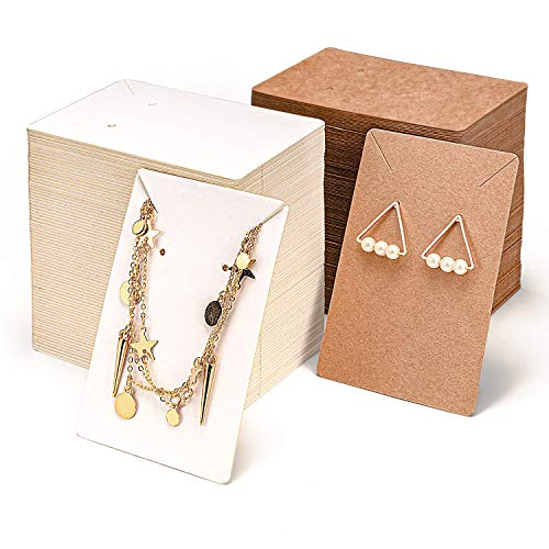 PGFUNNY Earring Display Card,Necklace Cards 600 Pack Set(300 Earring Cards,300Self-Sealing Bags) Kraft Paper DIY Jewelry Accessories Card for Necklace Earring Display/Jewelry Display/Mother's Day Gift