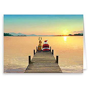 Dock Sunset Christmas Card - 18 Boxed Cards and Envelopes  Standard