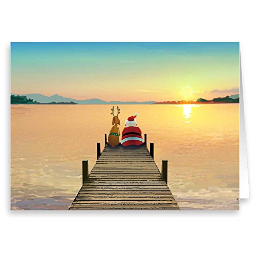 Dock Sunset Christmas Card - 18 Boxed Cards and Envelopes (Standard)