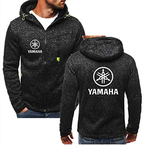 CHUDAN Verdicken Plus Samt Männer Hoodie Mit Yamaha Logo Drucken Beiläufige Strickjacke Frauen Warm Freizeit-Kapuzenpullover Zip Sweater-Jacke Sport Sweatshirt,Schwarz,XL