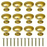 Schubladenknopf Runde Kabinett Knöpfe 30mm Moebelknopf mit Legierung Schraube für Schrank Schublade Küche 12 Stück Gold
