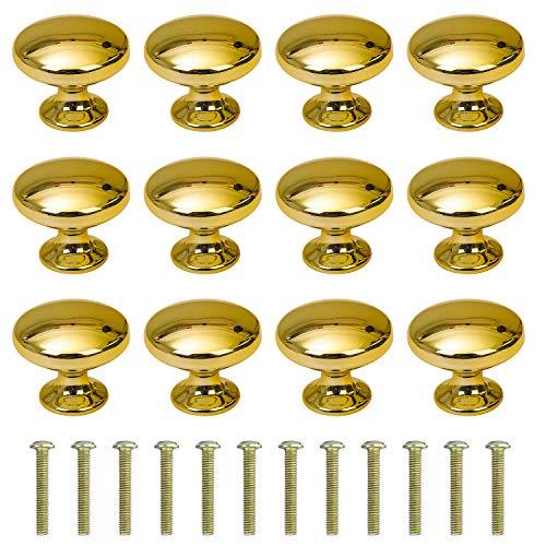 Perillas de Gabinete Redondas Perillas de Cajón 30mm Tiradores de Muebles Perilla de la Puerta con Tornillo Perillas Manijas para Armario Cajón Aparador Cocina 12 Piezas Oro