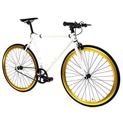 Golden Cycles Single Speed Fixed Gear Bike with Front & Rear Brakes (Pharaoh, 59)