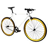 Golden Cycles Single Speed Fixed Gear Bike with Front & Rear Brakes (Pharaoh, 55)