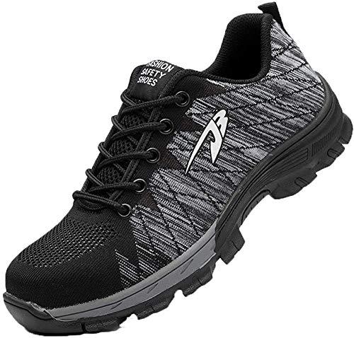 Gainsera Zapatos de seguridad para hombre y mujer, ligeros, deportivos, con puntera de acero, color Gris, talla 42 EU