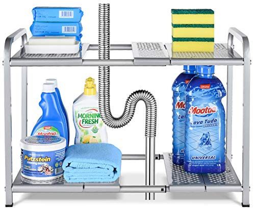 Auledio Metal Under Sink 2-Tier Expandable Shelf Organizer Rack, Adjustable Height and Position, 7 Removable Shelves - Expandable 18'' to 25''for Kitchen Bathroom Cabinets Storage, Chrome